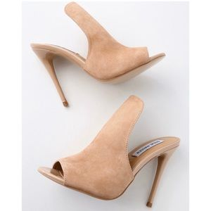 Sinful Nude Suede Leather Peep-Toe Mules